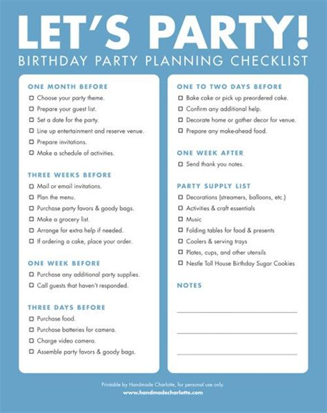 birthday party planning sheet everything i need on one diy printable birthday party checklist party planning