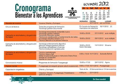 cronograma de actividades junio 2015 centro de idiomas unsa bienestarfusagasuga cronograma actividades noviembre