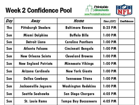 printable nfl schedule for week 2 nfl confidence pool week 2 football confidence pool week 2