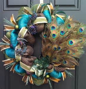 peacock mardi gras turquoise brown and green deco mesh wreath