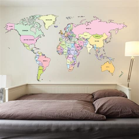 map wall decal printed colour world map wall sticker wallboss wall