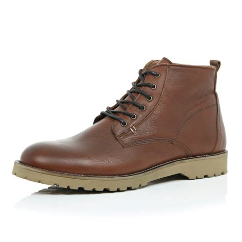 Rustic Brown Leather by River Island Brown Leather Rustic Boots In Brown For
