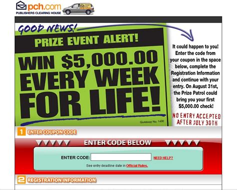 Pch 5000 A Week For Life Entry - pch actnow activation code form autos post