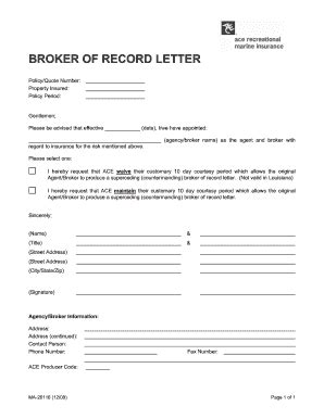 Insurance Bor Letter Fillable Ma26116broker Of Record Letter 2 Doc Fax Email Print Pdffiller