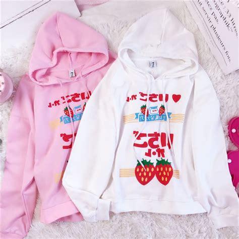 korea strawberry hoodie 183 kawaii harajuku