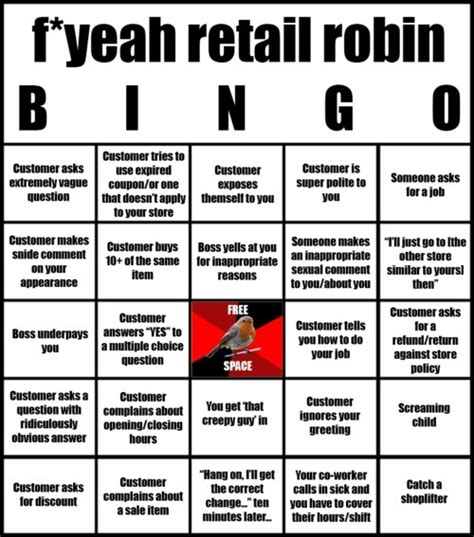 I M 48 Work In Retail Should I Get An Mba by F Yeah Retail Robin Bingo With Your Colleagues
