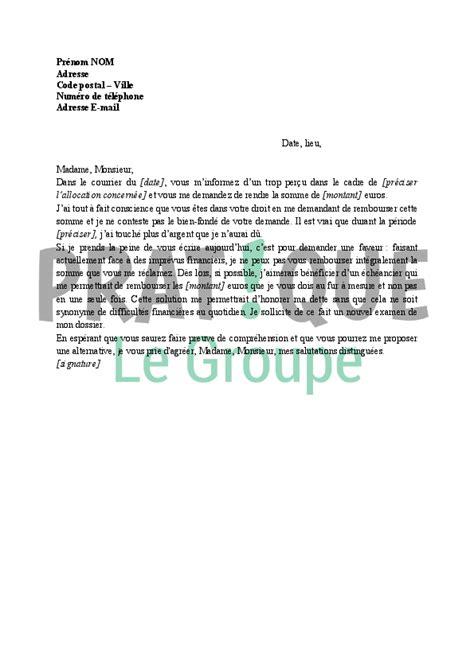 lettre de contestation pole emploi trop percu modele lettre trop percu pole emploi document