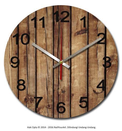 jual beli jam dinding unik nail your standard series brownwood promo baru pajangan