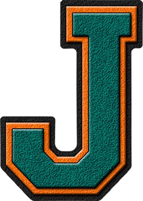 College With Letter J Presentation Alphabets Aqua Coral Varsity Letter J