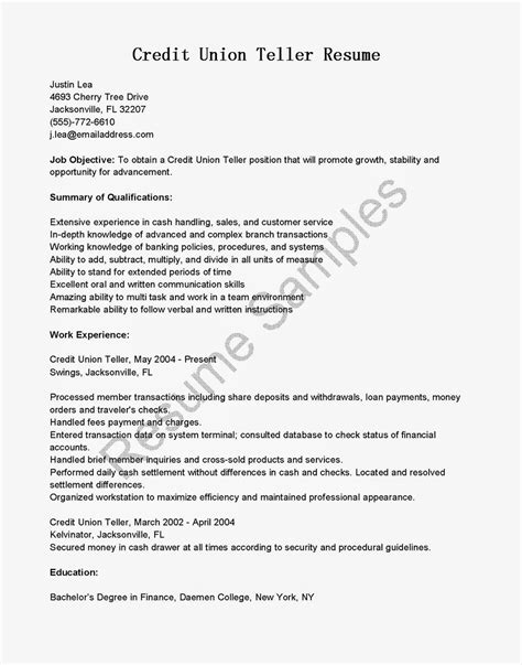Credit Supervisor Sle Resume by Credit Union Teller Description For Resume 28 Images Expressive Essays Exle Of Editorial
