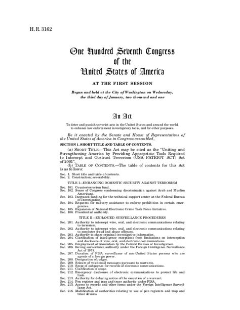 Usa Patriot Act Document usa patriot act