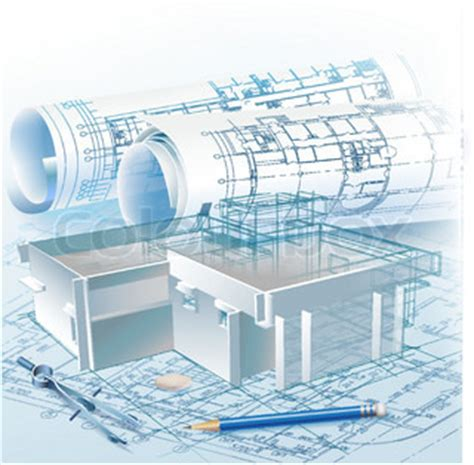 3d building drawing architectural background with a 3d building model and
