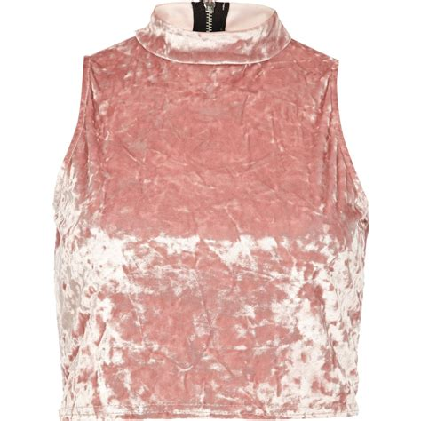 Turtle Neck Crop Top Pink river island light pink velvet turtle neck crop top in