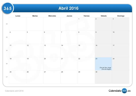 Calendã Do Mãªs De Abril De 2016 Calendario Abril 2016
