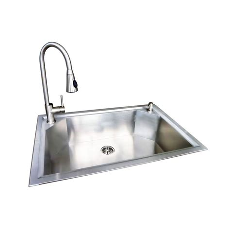 Glacier Bay Dual Mount Stainless Steel 22 In 1 Hole Single Kitchen Sinks