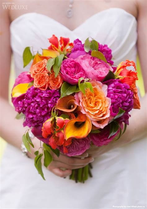 Bright Wedding Flower Picture by Amazing Bright Coloured Bouquet With Fuschia Peonies Pink