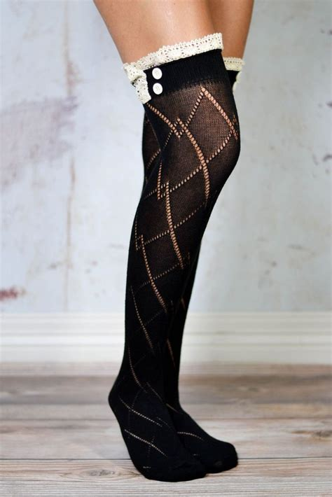 black thigh high boot socks with lace trim bootcuffsocks