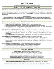 Sle Resume Supply Chain Internship Supply Chain Manager Sle Resume