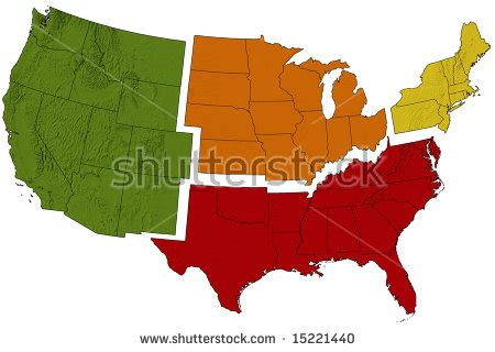 united states map divided into 5 regions usa map divided into regions stock photo 15221440