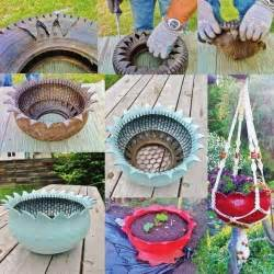 diy recycled hanging tire flower planter