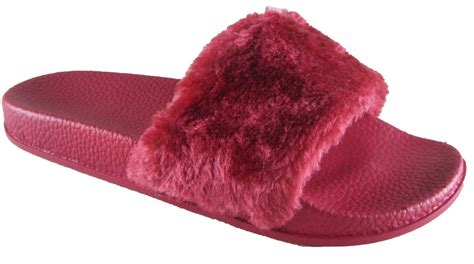 flip flop slippers womens flats fur slip on comfy flip flop slider