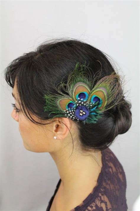 Wedding Hair Accessories Peacock by Peacock Hair Accessories Peacock Feather Clip Navy