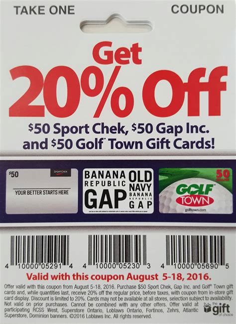 Banana Republic Gift Card Discount - loblaws canada deals no tax event this saturday esso fuel offer 20 off 50 gift