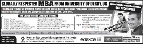 Requiring An Mba Uk by Of Derby Uk Mba Degree Programme In Sri Lanka