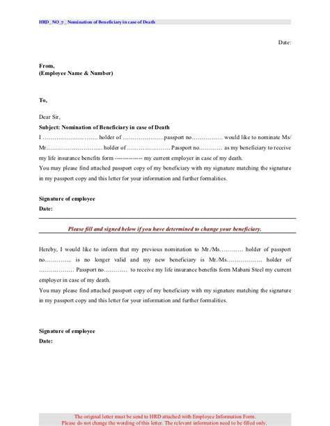 beneficiary certificate template hrd no 7 beneficiary letter