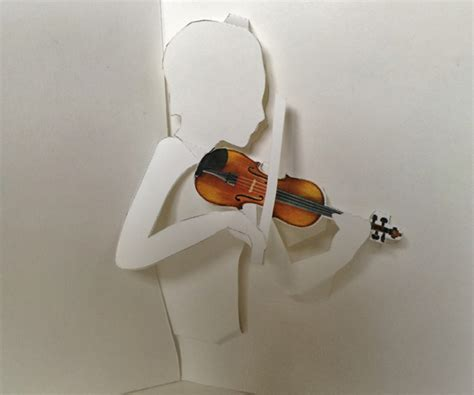 pop up card templates violin printable violin pop up card shows violinist bowing