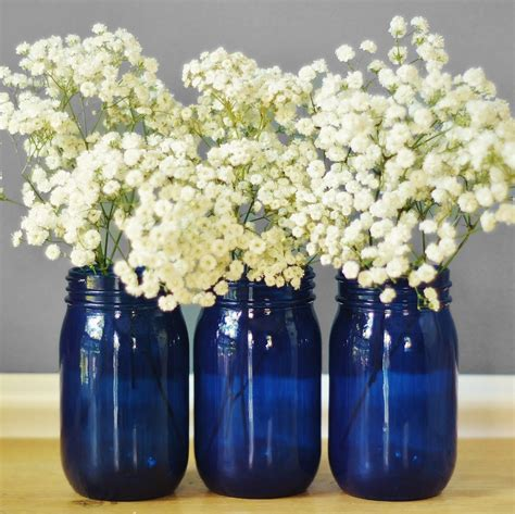 Jars And Vases by Set Of Three Cobalt Blue Glass Jar Vases Cottage Chic
