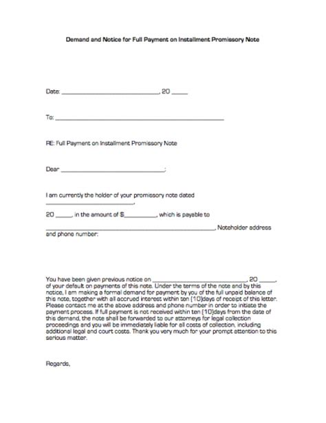 installment promissory note template free 29 images of pay loan in notice template tonibest