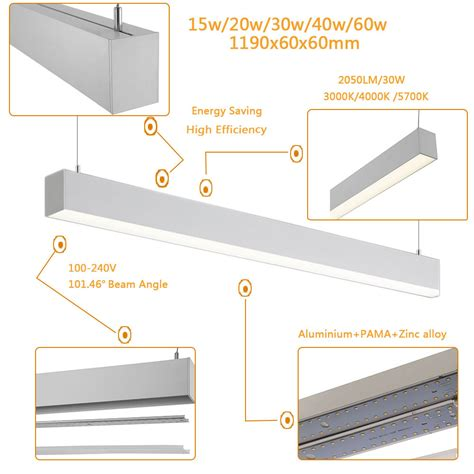 suspended linear led lighting easy mounted led linear pendant sconce for decoration
