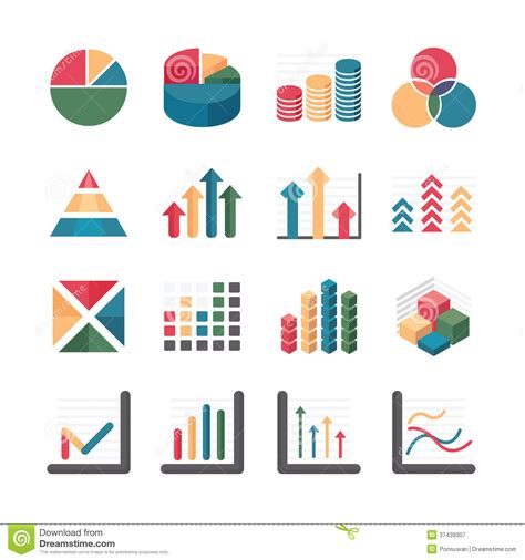 graph and diagram icon set stock vector illustration of graph chart business and financial icons set vector