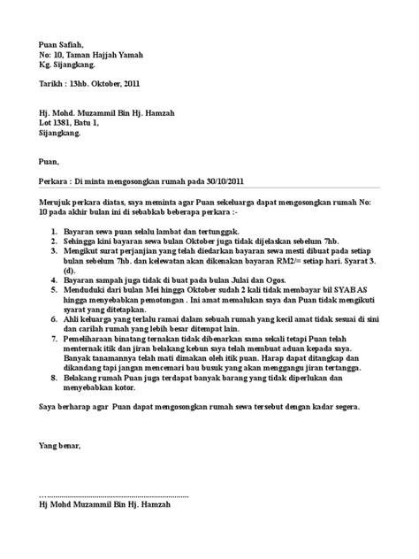 surat amaran rumah sewa