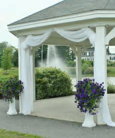 Use fabric/tulle to decorate gazebo   maybe just at the