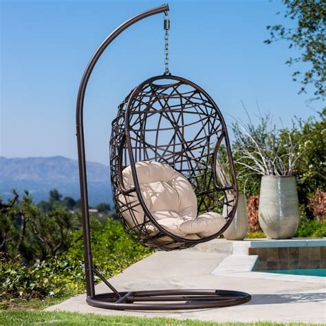 outdoor egg swing christopher knight home swinging egg outdoor wicker chair