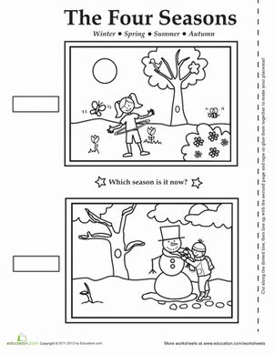 seasons coloring pages preschool four seasons activity placemat worksheet education com