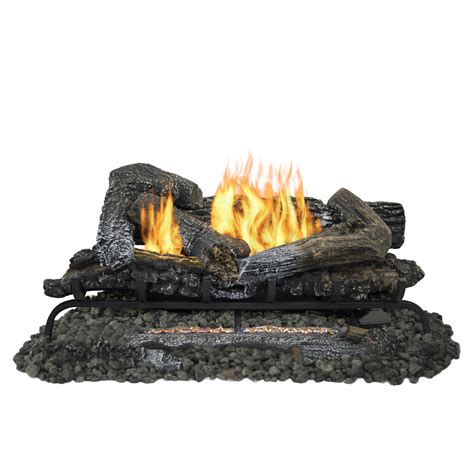 Gas Logs For Fireplace Lowes by Shop Pleasant Hearth 30 In 33 000 Btu Dual Burner Vent