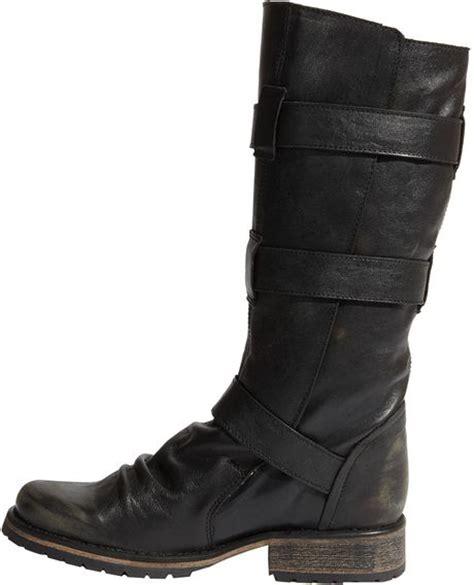 steve madden buckie boot in black black leather lyst