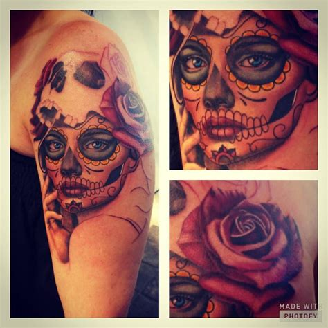 sugar skull woman tattoo sugar skull on s shoulder with and
