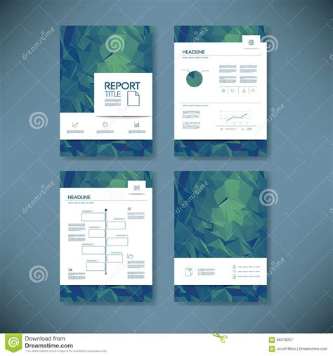 business report template with low poly background project