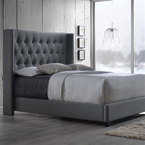 grey upholstered queen bed baxton studio katherine transitional gray fabric