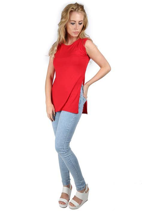 Midi Slit Tunik high split midi jersey side slit tunic sleeveless vest top ebay