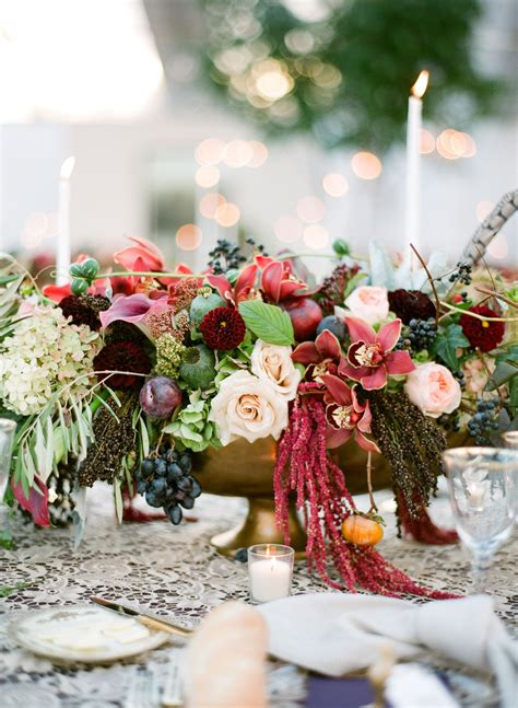 fall themed centerpieces for weddings fall themed centerpiece with roses and amaranthus