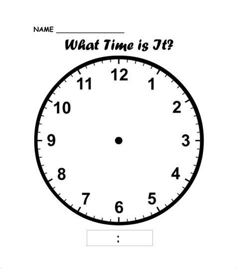 printable adjustable clock printable clock templates 17 free word pdf format