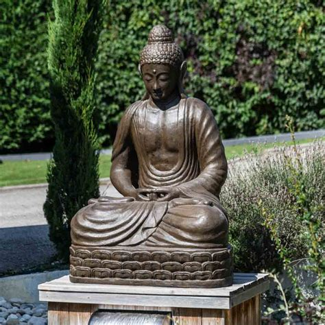statue jardin bouddha assis en fibre de verre position chakra  cm brun