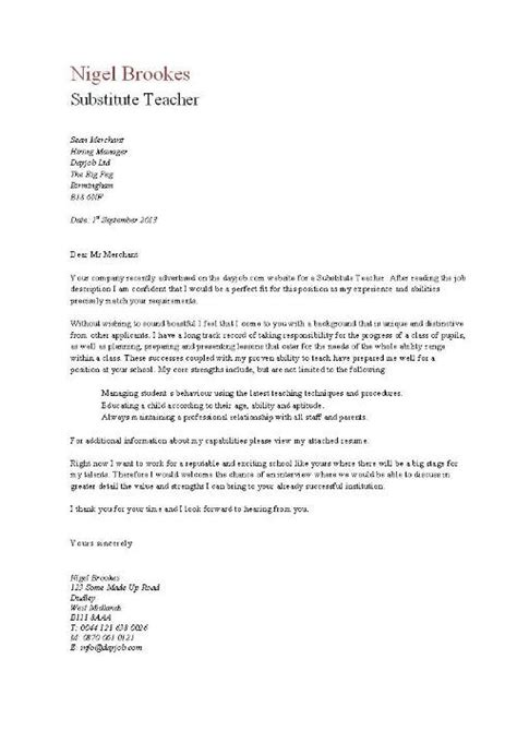 teaching cover letter for new teachers letter of application letter of application substitute