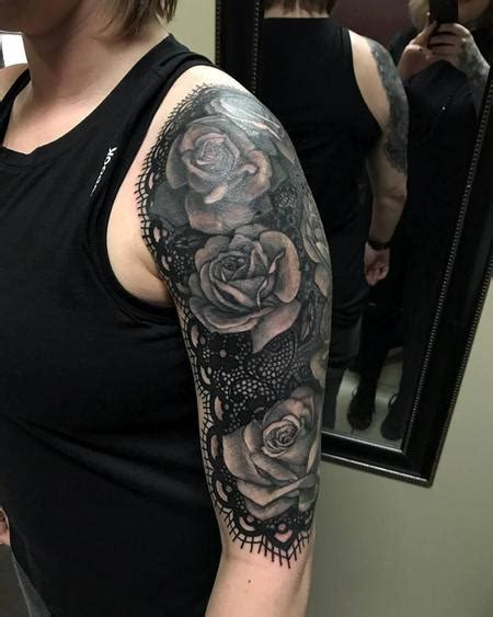lace quarter sleeve tattoo lace and rose half sleeve by christina walker tattoonow