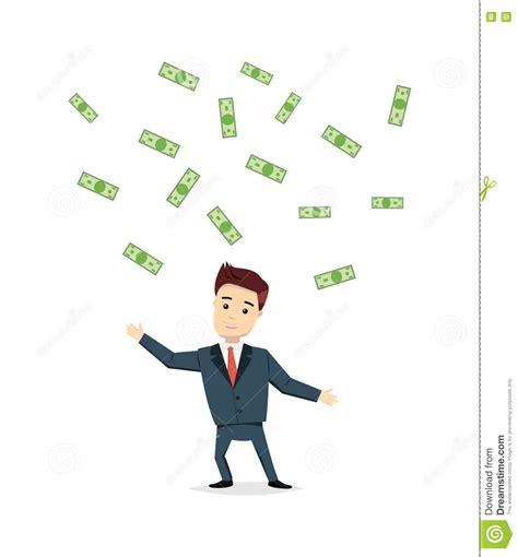 dream homes chefcash biz successful businessman under money rain cartoon vector